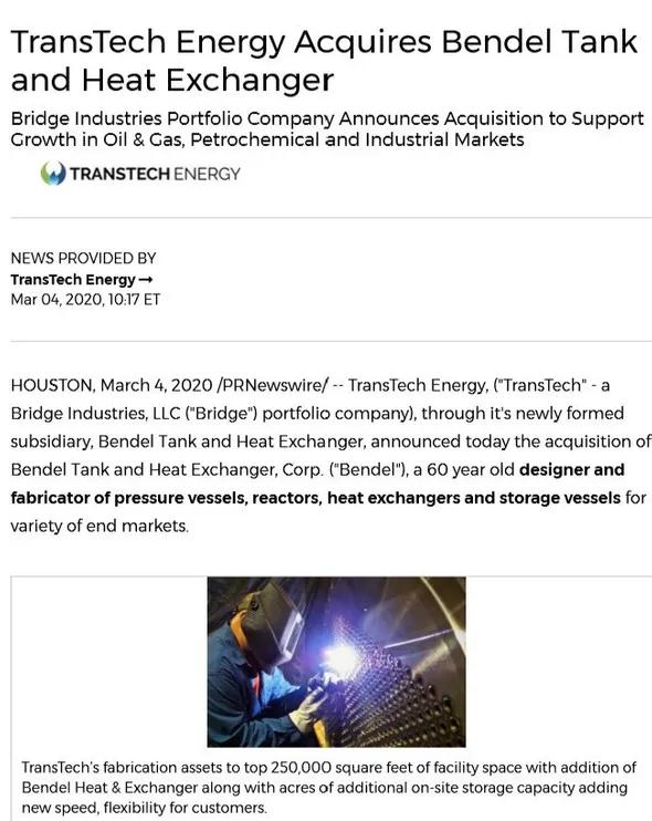 TransTech Energy Acquires Bendel Tank and Heat Exchanger